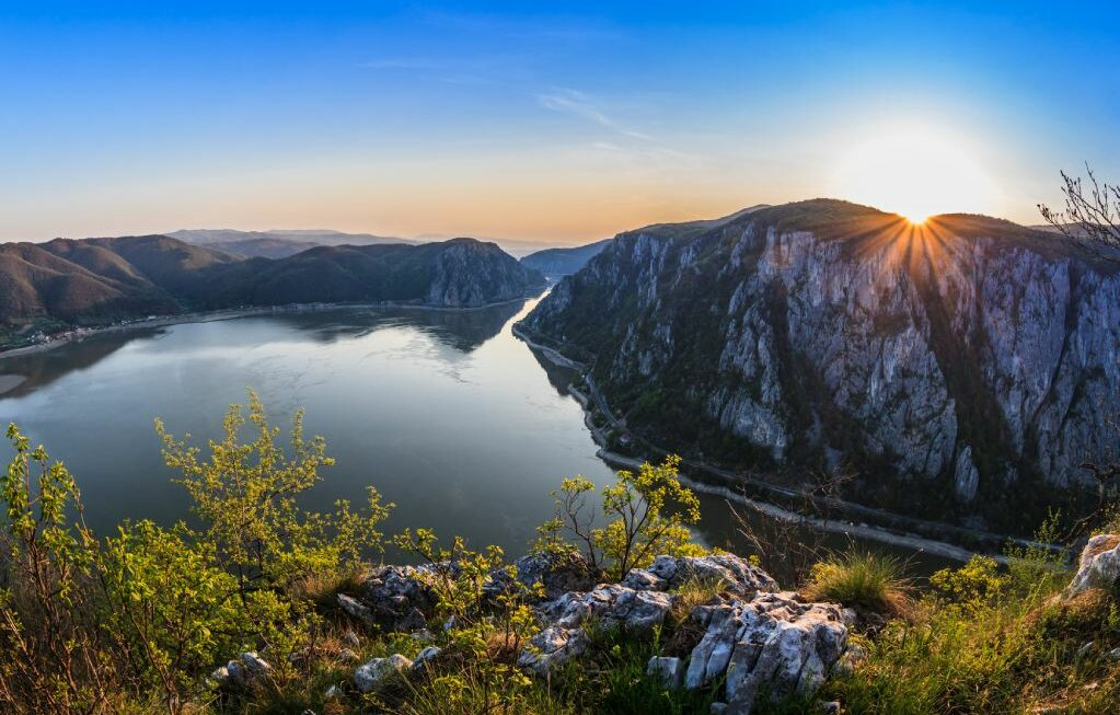 """landscape in the Danube Gorges """"Cazanele Mari"""" seen from the Romanian side"""